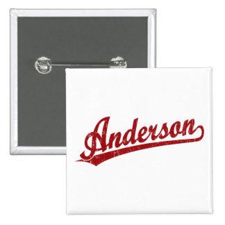 Logotipo de la escritura de Anderson en rojo Pins