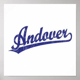 Logotipo de la escritura de Andover en azul Poster