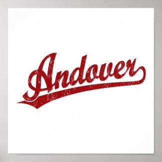 Logotipo de la escritura de Andover en rojo Posters