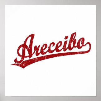 Logotipo de la escritura de Areceibo en rojo Posters