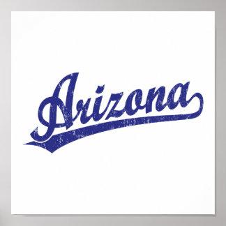 Logotipo de la escritura de Arizona en azul Posters