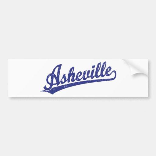 Logotipo de la escritura de Asheville en azul Pegatina De Parachoque