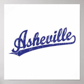 Logotipo de la escritura de Asheville en azul Impresiones