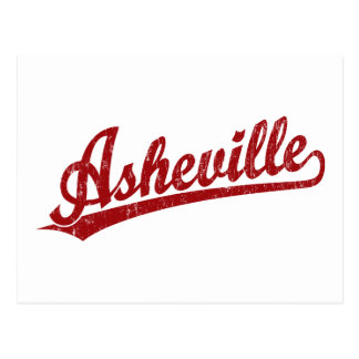 Logotipo de la escritura de Asheville en rojo Postales