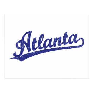 Logotipo de la escritura de Atlanta en azul Tarjeta Postal