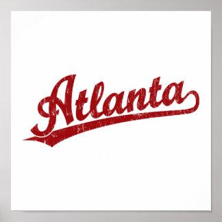 Logotipo de la escritura de Atlanta en rojo Impresiones