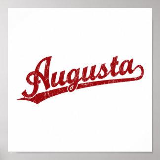 Logotipo de la escritura de Augusta en rojo Poster