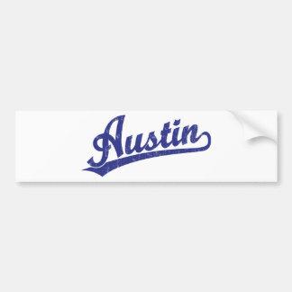 Logotipo de la escritura de Austin en azul Pegatina De Parachoque