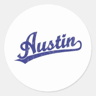 Logotipo de la escritura de Austin en azul Etiqueta Redonda