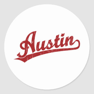 Logotipo de la escritura de Austin en rojo Etiqueta Redonda