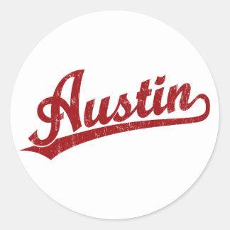 Logotipo de la escritura de Austin en rojo Pegatinas Redondas