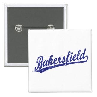 Logotipo de la escritura de Bakersfield en azul Pin Cuadrado
