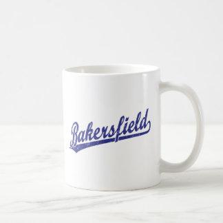 Logotipo de la escritura de Bakersfield en azul Taza