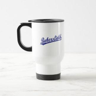 Logotipo de la escritura de Bakersfield en azul Taza De Café