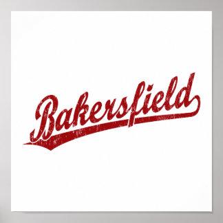 Logotipo de la escritura de Bakersfield en rojo Impresiones