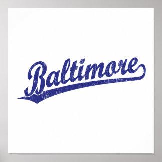 Logotipo de la escritura de Baltimore en azul Poster