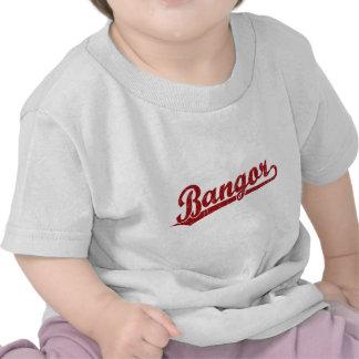 Logotipo de la escritura de Bangor en rojo Camiseta