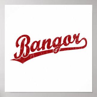 Logotipo de la escritura de Bangor en rojo Posters