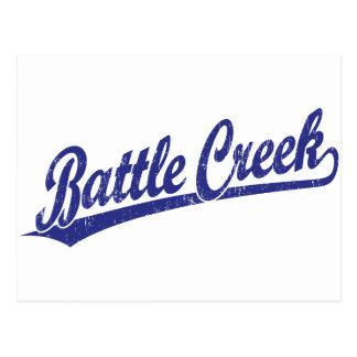 Logotipo de la escritura de Battle Creek en azul Tarjetas Postales
