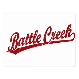 Logotipo de la escritura de Battle Creek en rojo Tarjetas Postales