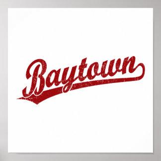 Logotipo de la escritura de Baytown en rojo Impresiones