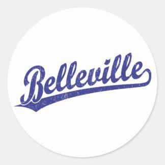 Logotipo de la escritura de Belleville en azul Pegatina Redonda