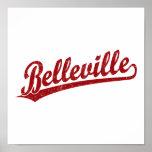 Logotipo de la escritura de Belleville en rojo Posters