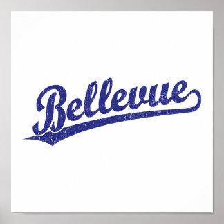 Logotipo de la escritura de Bellevue en azul Impresiones