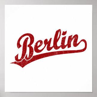 Logotipo de la escritura de Berlín en rojo Posters