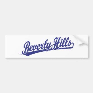 Logotipo de la escritura de Beverly Hills en azul Etiqueta De Parachoque