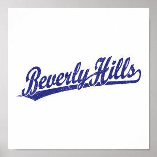 Logotipo de la escritura de Beverly Hills en azul Impresiones