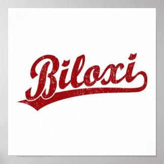 Logotipo de la escritura de Biloxi en rojo Poster