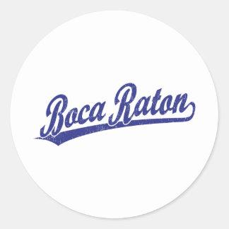 Logotipo de la escritura de Boca Raton en azul Etiqueta