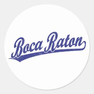 Logotipo de la escritura de Boca Raton en azul Pegatina