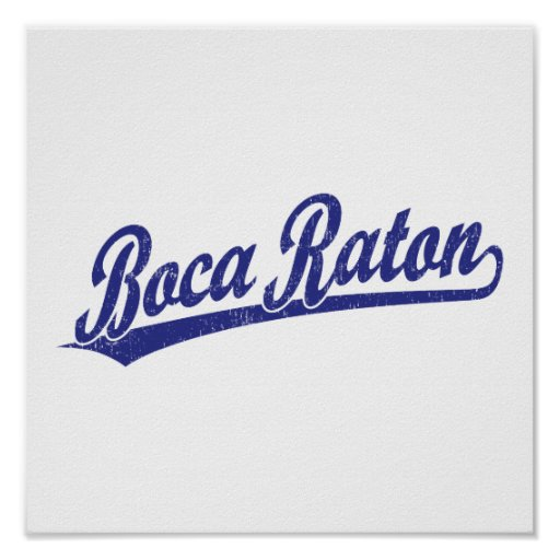 Logotipo de la escritura de Boca Raton en azul Póster