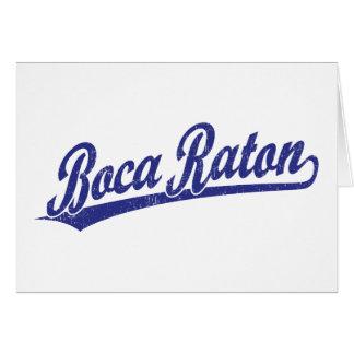 Logotipo de la escritura de Boca Raton en azul Tarjeta De Felicitación