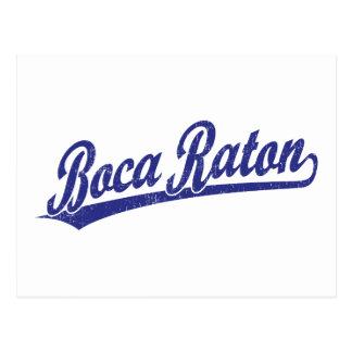 Logotipo de la escritura de Boca Raton en azul Tarjeta Postal