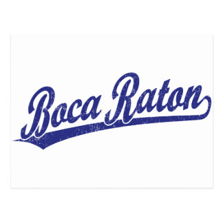Logotipo de la escritura de Boca Raton en azul Tarjetas Postales