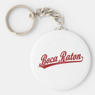 Logotipo de la escritura de Boca Raton en rojo Llavero Redondo Tipo Pin