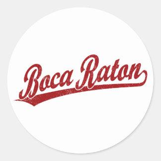 Logotipo de la escritura de Boca Raton en rojo Etiqueta Redonda