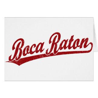 Logotipo de la escritura de Boca Raton en rojo Tarjeta De Felicitación