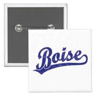 Logotipo de la escritura de Boise en azul Pin Cuadrado