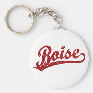 Logotipo de la escritura de Boise en rojo Llavero Redondo Tipo Pin