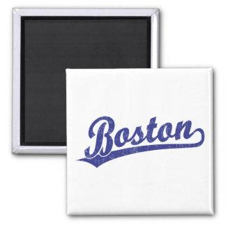Logotipo de la escritura de Boston en azul Imán Cuadrado