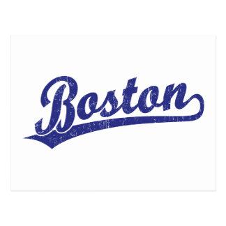 Logotipo de la escritura de Boston en azul Postales