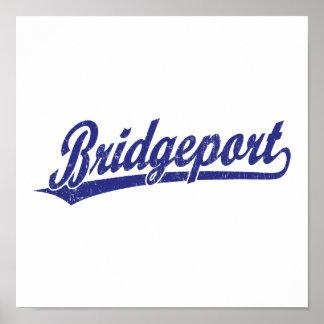 Logotipo de la escritura de Bridgeport en azul Impresiones