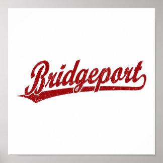 Logotipo de la escritura de Bridgeport en rojo Poster