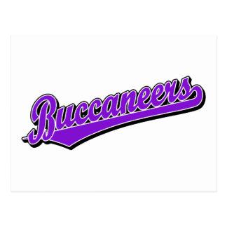 Logotipo de la escritura de Buccaneers en rojo Postal