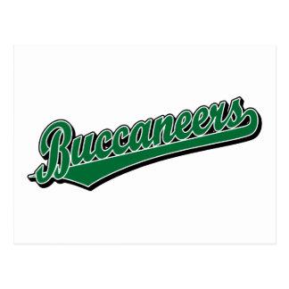 Logotipo de la escritura de Buccaneers en verde Tarjeta Postal