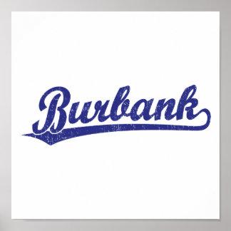 Logotipo de la escritura de Burbank en azul Posters